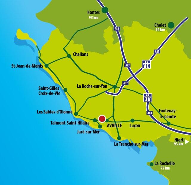 Access and route of the park Le Chteau des Aventuriers